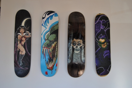 Custom painted Skate decks by Matt Lorentz, JR Johnson, Richie Griswold, and James McLeod