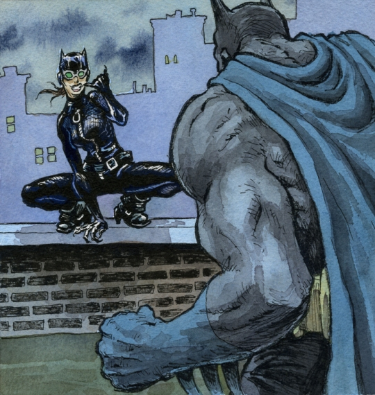 Andy Mitchell's Depiction of Batman and Catwoman Contributed to the AFTERCON 2010 Show in Shel Dorf's Honor