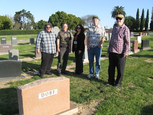 Alongside Shel's Burial Place: from left to right, Greg Koudoulian, Clayton Moore, Wendy All, Mike Towry, and Richard Alf.
