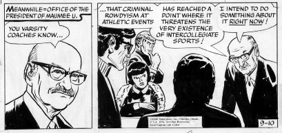 Shel's Father, Ben Dorf, as the President of Maumee U. in the 09/10/78 Steve Canyon Strip