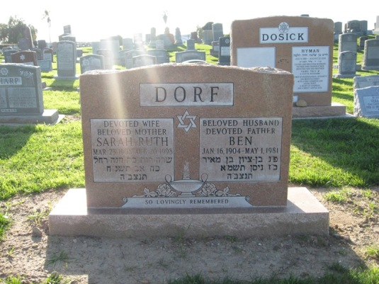 Ben and Sarah Dorf's Headstone (May They Rest In Peace)