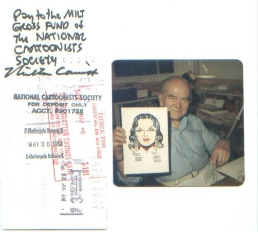 Milton Caniff holding Charlie Roberts' Dragon Lady drawing and Charlie's endorsed check to Milt (photo courtesy of Charlie Roberts)