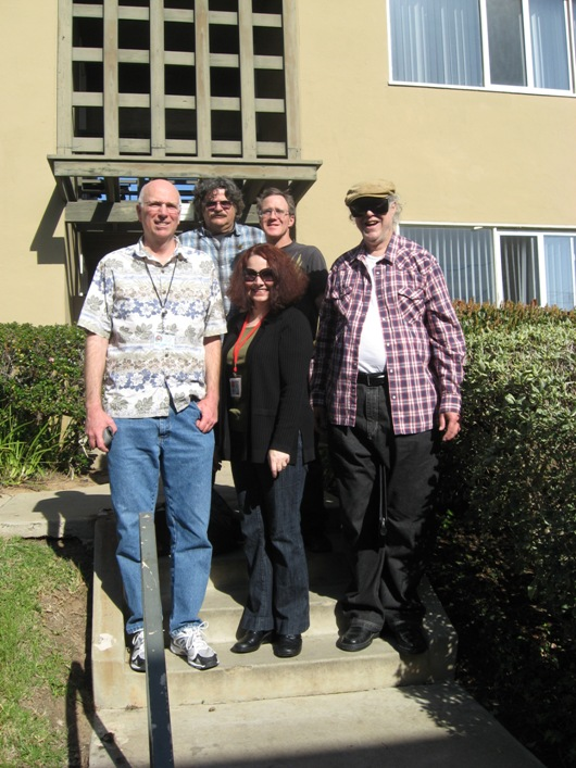 At Comic-Con's birthplace: in back, left to right are Greg Koudoulian and Clayton Moore; in front, left to right are Mike Towry, Wendy All, and Richard Alf.
