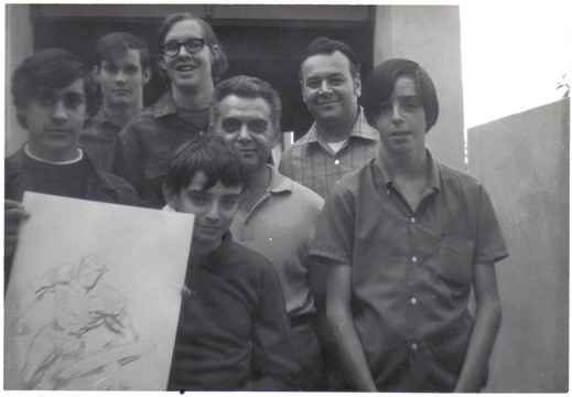 From left to right: Dan Stewart, Bob Sourk, Richard Alf (the tall guy with glasses),  Barry Alfonso (in front), Jack King Kirby, Shel Dorf, and Wayne Kincaid. Picture taken on November 9, 1969 at the Kirby-family home in Irvine, California.