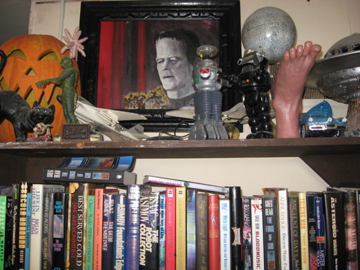 Shel Dorf's painting of Frankenstein's monster on display at the Footnote Books store (courtesy of store owner Troy Beaver)