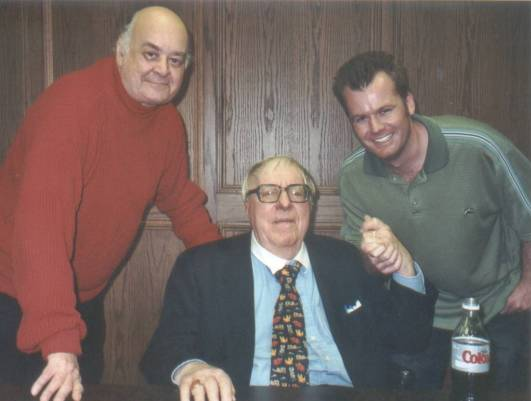 From left, Shel Dorf, Ray Bradbury, and Matt Lorentz at the University of San Diego in 2004 (photo courtesy of Charlie Roberts)