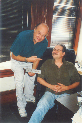 Shel Dorf and David Scroggy in David's San Diego Comic Book Expo office in 1993. (Photo courtesy of David Scroggy.)