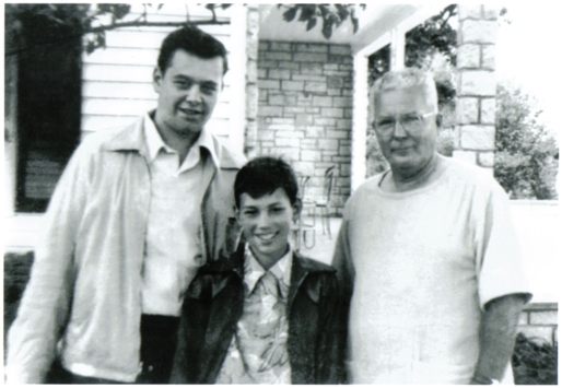Left to Right: Shel Dorf, Michael Dorf, and Chester Gould outside the Gould farmhouse in 1949.