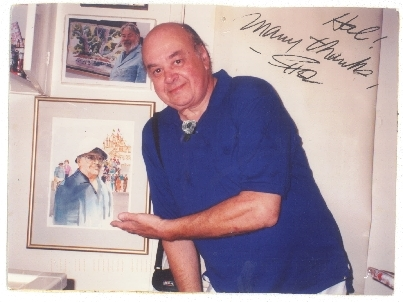 Postcard image of Shel Dorf in front of his watercolor portrait painted by Hal Scroggy.