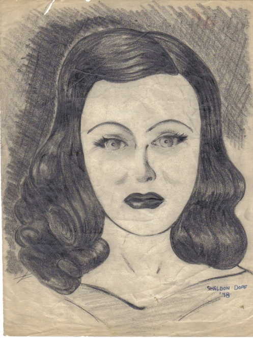 Pencil sketch done by Shel Dorf in 1948.