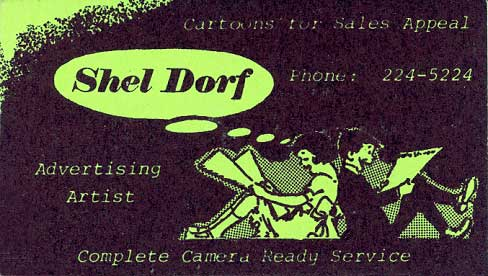 Shel Dorfs 1970 Business Card Given to Alan White at San Diego Comic-Con #1