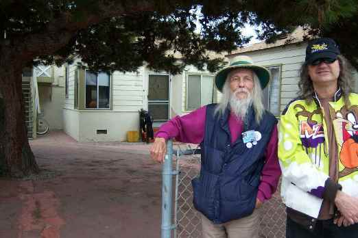 Shel's old house in San Diego's Ocean Beach community. (From left to right: George Clayton Johnson and William Clausen.)
